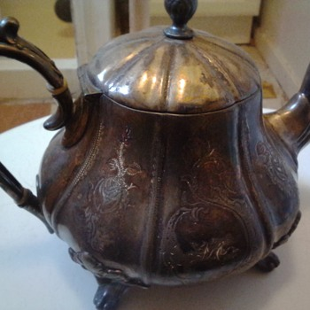antique silver pewter teapot - Silver