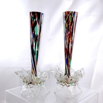 Victorian Welz Pair Red Spatter footed Vases  - Art Glass