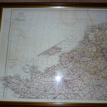 British WW11 silk escape map of Europe.