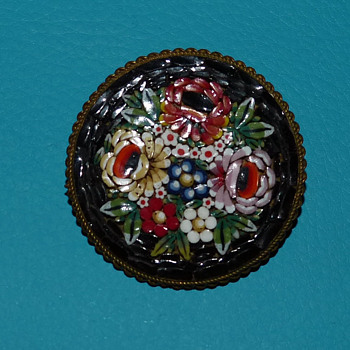 Vintage Floral Mosaic Brooch - Made in Italy
