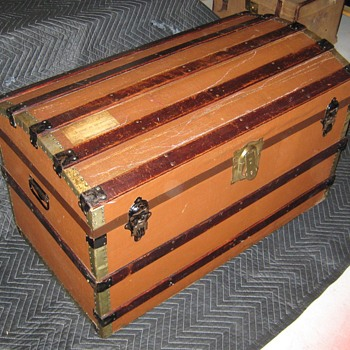 1930's English Made Canvas Covered Trunk - Furniture