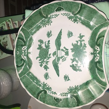 Hand painted white and green salad plate - China and Dinnerware