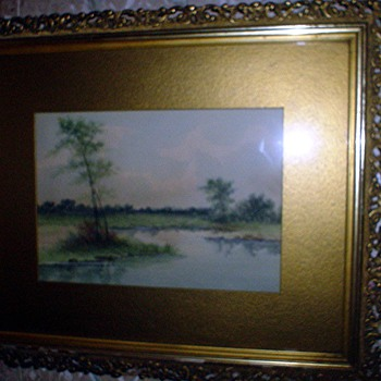 Watercolor landscape signed Condon