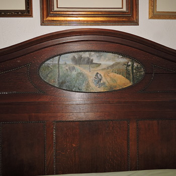 "Antique Headboard and Marble Top Dresser with ""Painting"" inserts - Furniture"