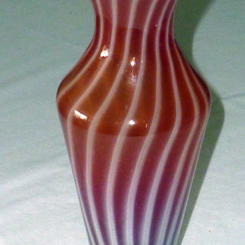 Glass vase with candy cane stripes