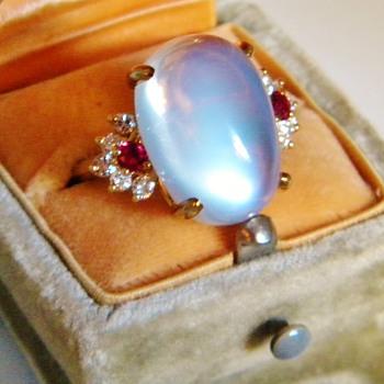 Huge Antique Ceylon Moonstone & Retro Ruby Diamond 18k Mounting For WPJ - Fine Jewelry