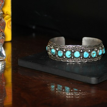 Native American Turquoise and Sterling Silver Cuff Bracelet - Fine Jewelry