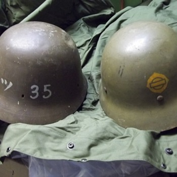 Japanese civil defense and naval engineer helmets