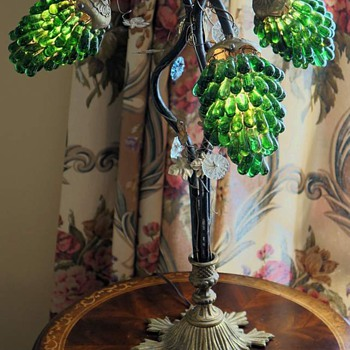 Antique Lamp with Emerald Green Glass - Lamps
