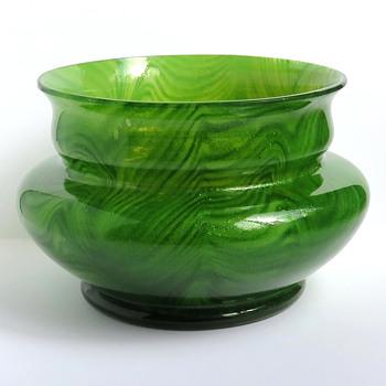 Rindskopf Pulled Feather Aventurine Bowl - Art Glass