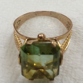 Large Gold and Peridot Ring - Fine Jewelry