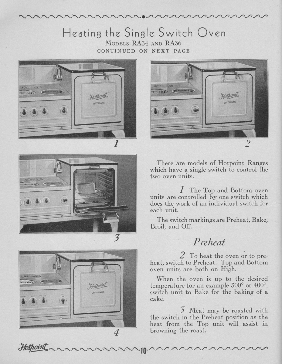 1930 s ge hotpoint oven stove manual collectors weekly rh collectorsweekly com Hotpoint Gas Oven Troubleshooting Hotpoint Oven Cooktop