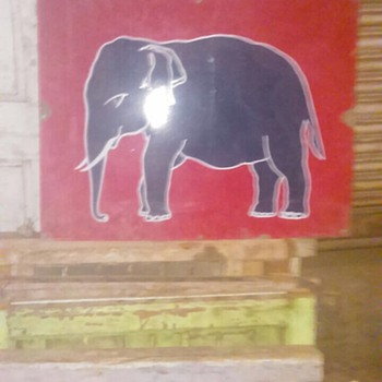 """Vintage Esso elephant oil gas pump enamel porcelain sign  Size 24"""" inch X 30 inch"""