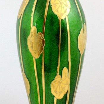 Harrach Green Aventurine Vase with Gold Lily Pads - Art Glass