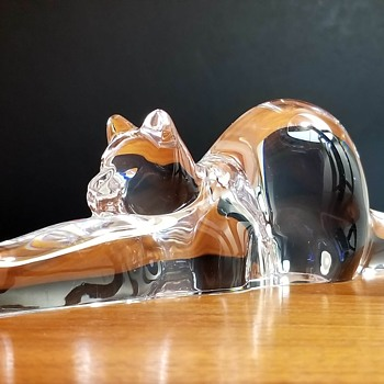 "Steuben Crystal ""Stretching Cat"" designed by Taf Lebel Schaefer - Animals"