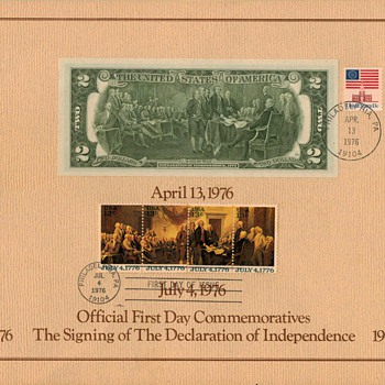 1976 - Official First Day Issue Commeratives - US Paper Money