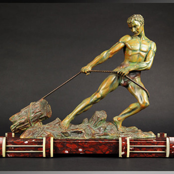 1920s Signed Alexandre Ouline Sculpture Youth Pulling a Stump - Art Deco