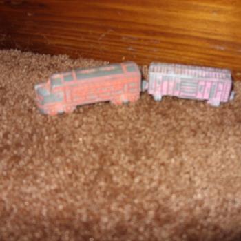 pot metal train and firetruck - Model Cars