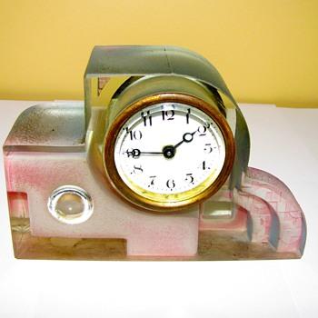 Rare art deco glass clock
