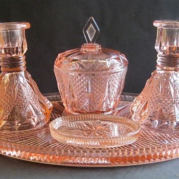 Pink Glass Dressing Table Set - Mystery! - Glassware