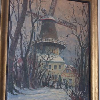 VINTAGE GERMAN OIL PAINTING WINDMILL SIGNED? - Fine Art