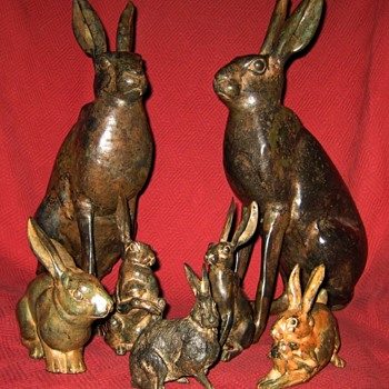 Pierre Chenet  Bronze Hare Sculptures - Animals