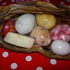 Alabaster Fruit in a carved wood basket