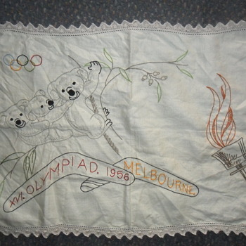 1956 Melbourne Olympic Games Tea Towel Doily  - Rugs and Textiles