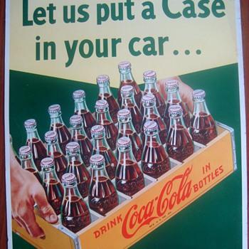 1950s Coca-Cola cardboard case sign - Coca-Cola