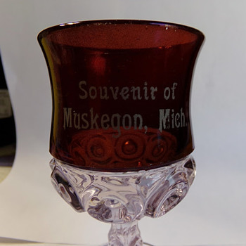 Local Late Victorian Souvenir Goblet - Glassware