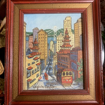 Tiny Painting of Chinatown Signed 'Virginia Carlton' - Folk Art