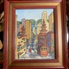 Tiny Painting of Chinatown Signed 'Virginia Carlton'