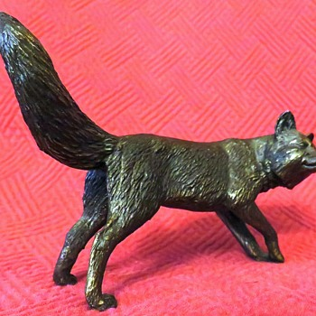 Vintage Bronze Fox Sculpture - Art Deco