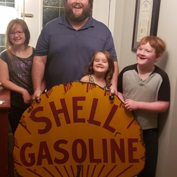 "1920's SHELL GASOLINE 42"" Porcelain sign - Petroliana"
