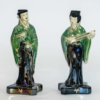 Large Mid Century Luster Asian Figures - Asian