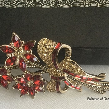 Flower Brooch — Avon, Red  - Costume Jewelry