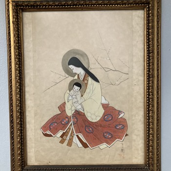 Japanese Carmelite Jesus and Mary painting on silk - Asian