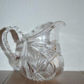 Victorian cut glass creamer (?)  with an antique repair - Glassware