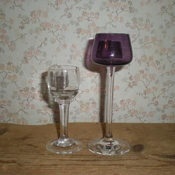 Bohemian Art Nouveau liqueur glasses. - Art Nouveau