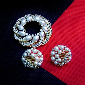 Trifari Cavalcade Brooch and Earring Set - Costume Jewelry