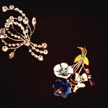 Austrian Rhinestone and Enamel Brooches / Circa 20th Century - Costume Jewelry