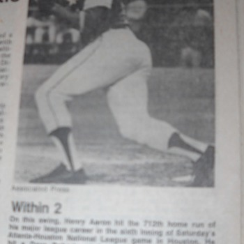 Hank Aaron chasing Ruth newspaper article