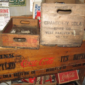 Cranberry Soda Cases West Hanover Mass. on my Coca Cola ice chest - Advertising
