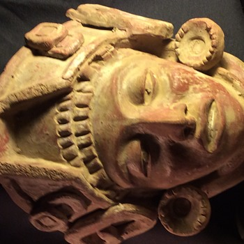 ANTIQUE STONE  CLAY CRAVED DEATH MASK