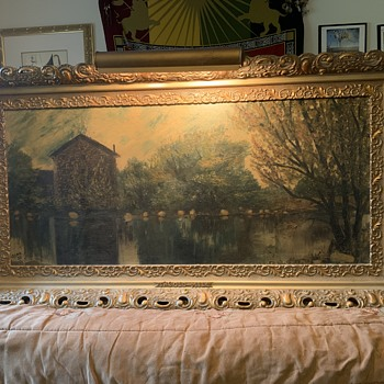 "Antique Clark '33 Signed Large Framed Oil Painting ""The Old Mill""  - Fine Art"