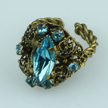 Art deco Czech glass and brass ring