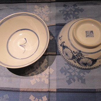 Blue White chinese rice / soup bowls - Asian