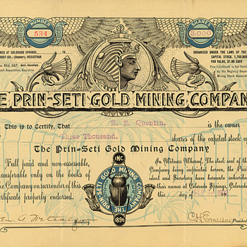 Prin-Seti Gold Mining Company stock certificate - US Paper Money