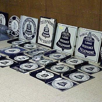 Porcelain Sign Display at the 2007 San Jose TCI Phone Show - Telephones