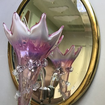 Victorian wall mirror with opalescent glass epergne posy holder - Art Glass